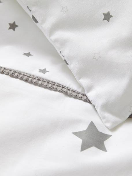 Baby Duvet Colour, Star Shower Theme WHITE LIGHT SOLID WITH DESIGN
