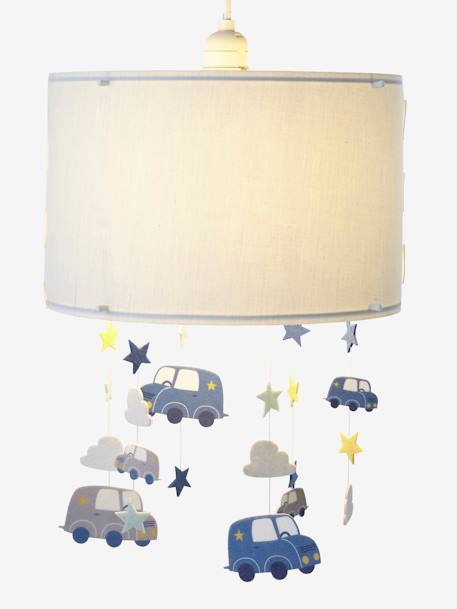 Clouds & Cars Hanging Lampshade BLUE MEDIUM SOLID WITH DESIGN
