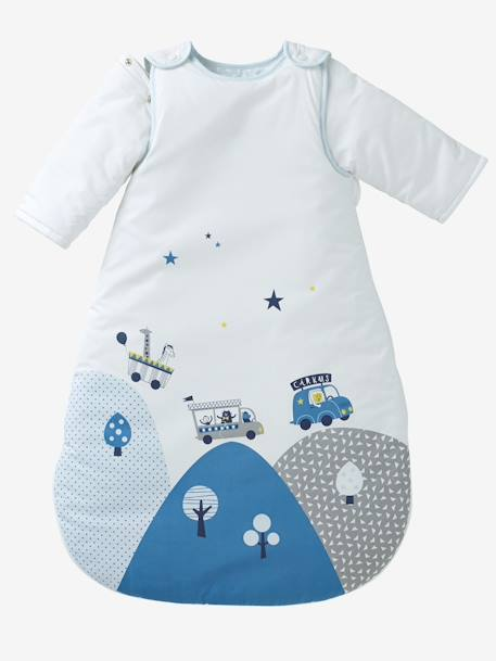 Sleep Bag with Removable Sleeves, Circus Theme WHITE LIGHT SOLID WITH DESIGN