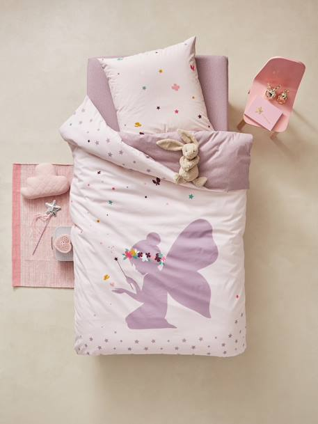 Children's Duvet Cover & Pillowcase Set, Tiny Fairy Theme PURPLE LIGHT SOLID WITH DESIGN