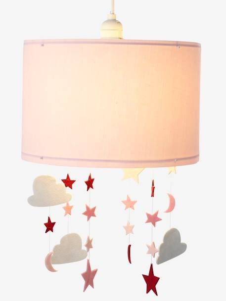 Stars & Clouds Hanging Lampshade PINK MEDIUM SOLID WITH DESIG
