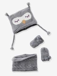 Baby-Hats & Accessories-Baby Girls' Beanie, MIttens & Snood Owl Set