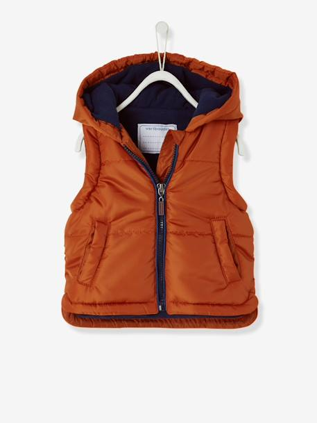 Baby Boys' Padded Jacket with Detachable Sleeves BROWN MEDIUM SOLID