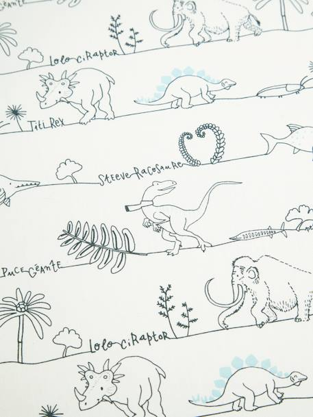 Children's Fitted Sheet, Dinorama Theme WHITE LIGHT ALL OVER PRINTED