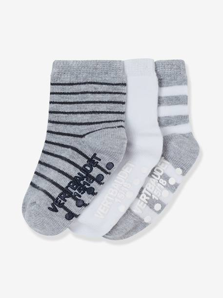 Pack of 3 Pairs of Non-Slip Baby Socks BLUE DARK TWO COLOR/MULTICOL+GREY MEDIUM TWO COLOR/MULTICOL+PINK MEDIUM 2 COLOR/MULTICOL