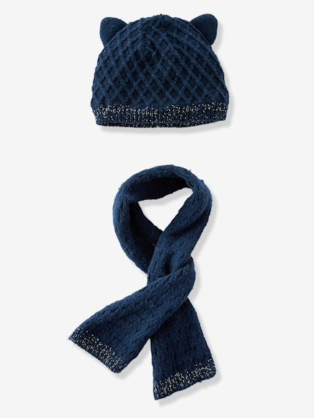 Baby Girls' Diamond Knit Beanie & Scarf, Lined BLUE DARK SOLID+WHITE LIGHT SOLID