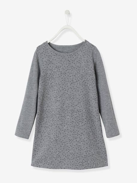Girls' Dress in Jersey Knit BLUE DARK ALL OVER PRINTED+GREY MEDIUM MIXED COLOR+RED LIGHT ALL OVER PRINTED