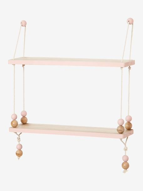 Wood & Rope Swing-Shelf BEIGE LIGHT SOLID WITH DESIGN