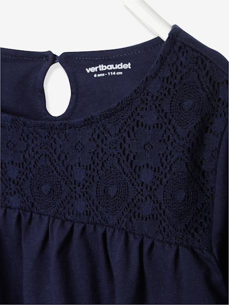 Girls' T-Shirt with Lace Panels BLACK DARK SOLID+BLUE DARK SOLID+PINK MEDIUM SOLID+WHITE LIGHT SOLID