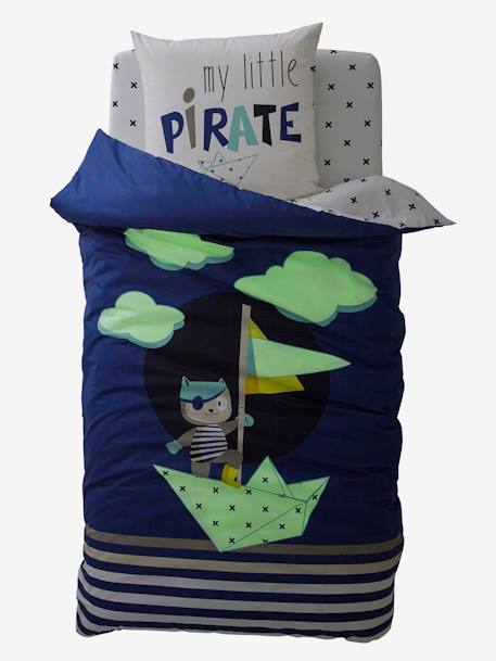 Children's Glow-in-the-Dark Duvet Cover & Pillowcase Set, Tiny Pirate Theme BLUE DARK SOLID WITH DESIGN