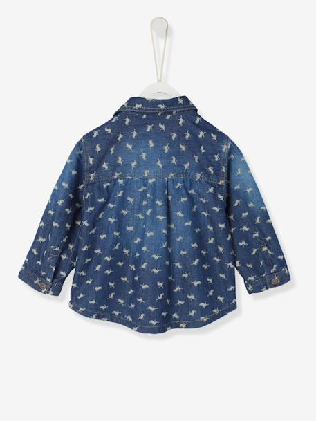 Baby Boys' Printed Denim Shirt BLUE DARK WASCHED