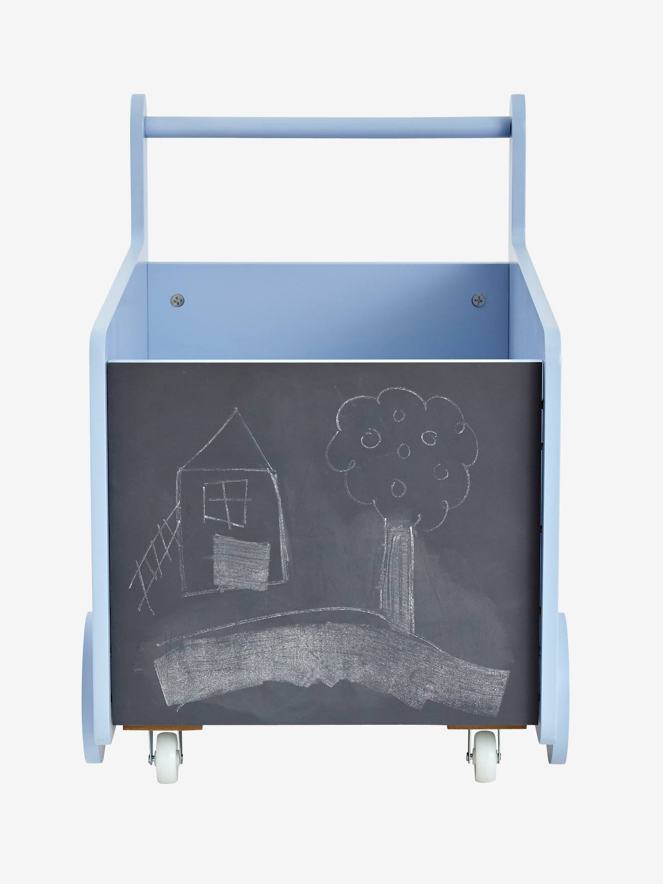 Storage Box With Wheels BLUE LIGHT SOLID WITH DESIGN