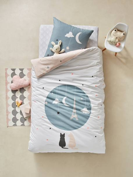 Children's Reversible Duvet Cover & Pillowcase Set, Like a Star Theme WHITE LIGHT SOLID WITH DESIGN