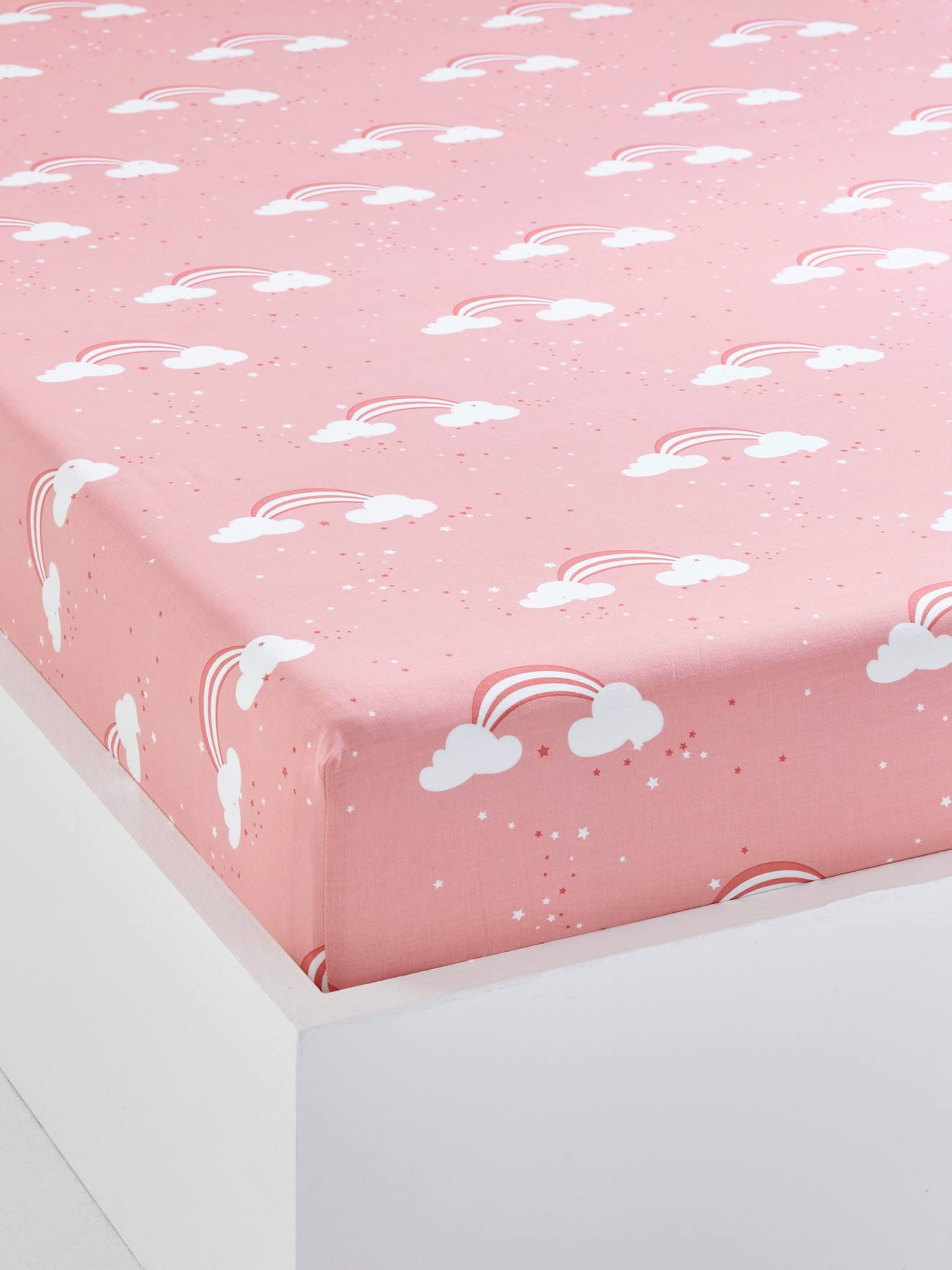 Childrenu0027s Fitted Sheet, Unicorn Theme PINK LIGHT ALL OVER PRINTED