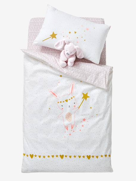 Baby Fitted Sheet, Magic Theme PINK LIGHT ALL OVER PRINTED