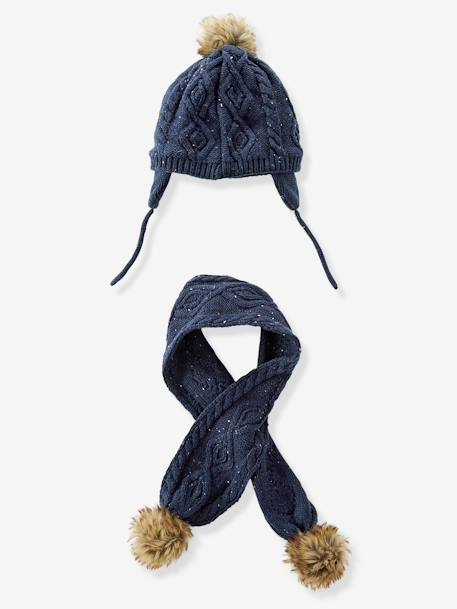 Baby Girls' Speckled Knit Cap & Scarf BLUE DARK SOLID+ORANGE MEDIUM SOLID