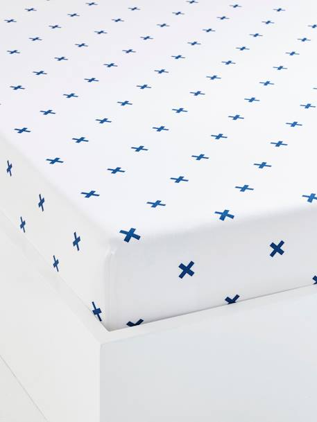 Children's Fitted Sheet, Tiny Pirate Theme WHITE LIGHT ALL OVER PRINTED