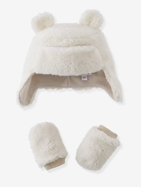 Baby Boys' Trapper Hat & Mittens Set, Fleece Lining WHITE LIGHT SOLID
