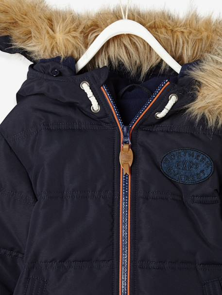 Boys' Padded Jacket with Polar Fleece Lining BLUE DARK SOLID