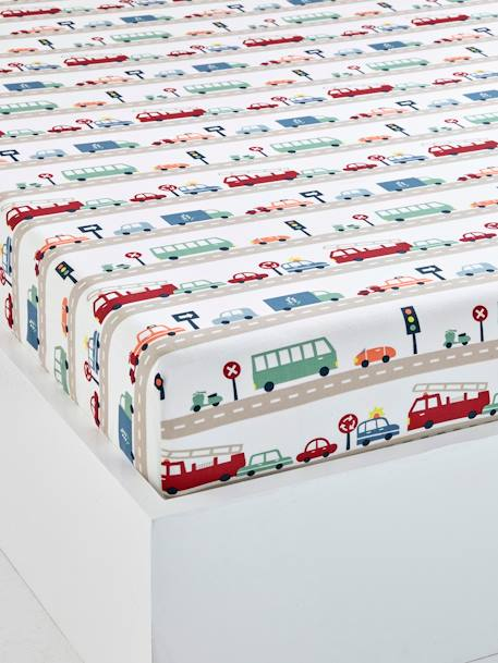 Children's Fitted Sheet, Auto City Theme BEIGE MEDIUM ALL OVER PRINTED