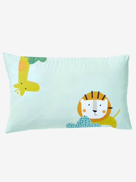 Baby Pillowcase, Jungle Party Theme GREEN LIGHT SOLID WITH DESIGN