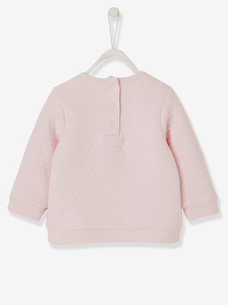 Baby Girls' Padded Sweatshirt PINK DARK SOLID WITH DESIGN+PINK LIGHT SOLID WITH DESIGN
