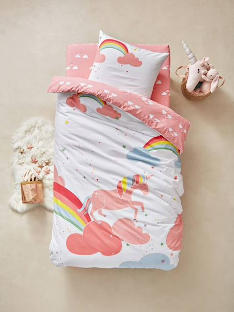 Children's Duvet Cover & Pillowcase Set, Unicorn Theme PINK LIGHT SOLID WITH DESIGN