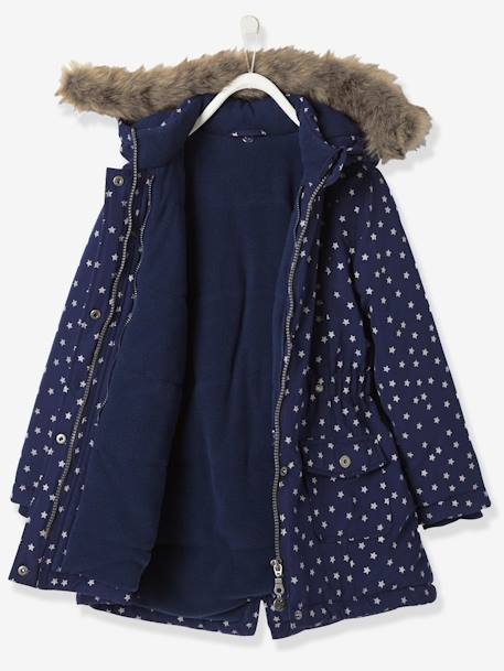Girls' 3-in-1 Parka with Polar Fleece Lining BLUE DARK ALL OVER PRINTED+PINK LIGHT SOLID+PURPLE DARK SOLID