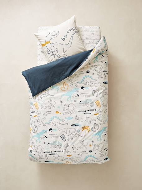 Children's Reversible Duvet Cover & Pillowcase Set, Dinorama Theme BLUE DARK ALL OVER PRINTED