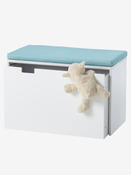 Bench-Storage Box with Wheels WHITE LIGHT SOLID WITH DESIGN