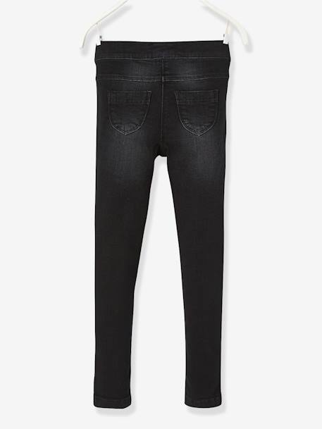NARROW Fit - Girls' Stretch Denim Treggings BLACK DARK SOLID