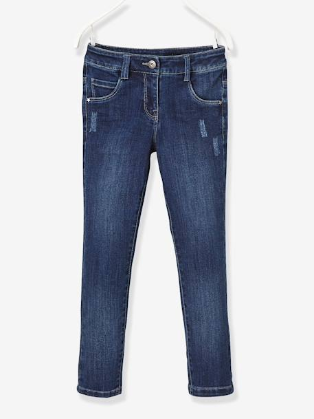 WIDE Fit - Girls' Stretch Denim Trousers BLUE DARK WASCHED+BLUE LIGHT WASCHED