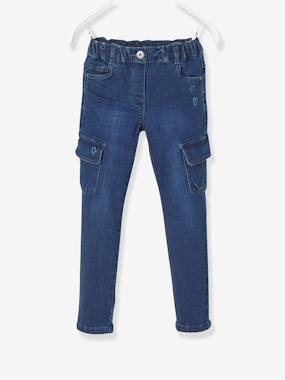 NARROW Fit - Girls' Slim Trousers blue dark wasched