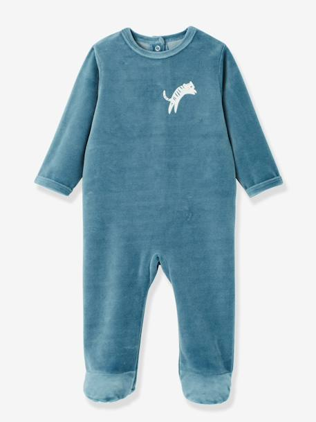 Pack of 3 Baby Velour Pyjamas, Front Press-Studs GREY LIGHT TWO COLOR/MULTICOL