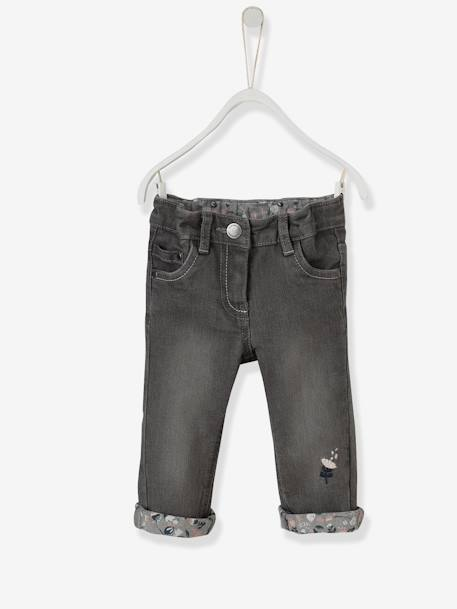 Baby Girls' Embroidered Jeans with Printed Turn-Ups GREY MEDIUM WASCHED