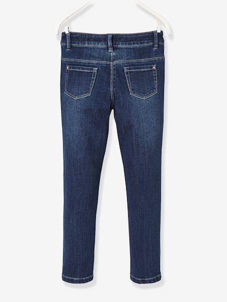 NARROW Fit - Girls' Stretch Denim Trousers BLUE DARK WASCHED+BLUE LIGHT WASCHED