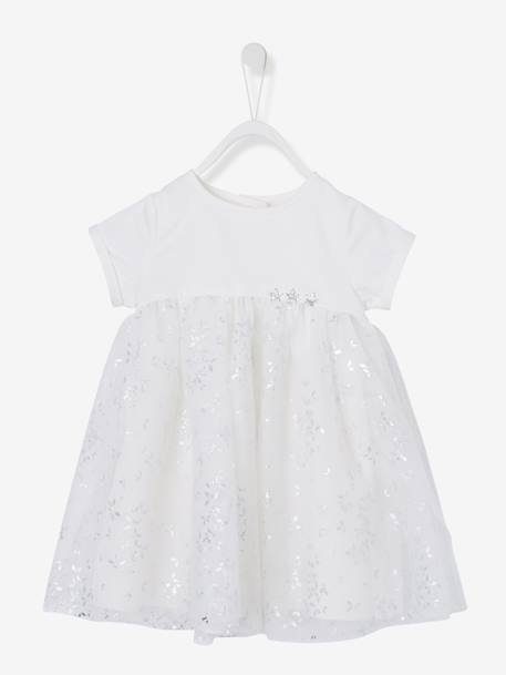 Baby Girls' Silvery Tulle Dress BLUE DARK ALL OVER PRINTED+WHITE LIGHT ALL OVER PRINTED