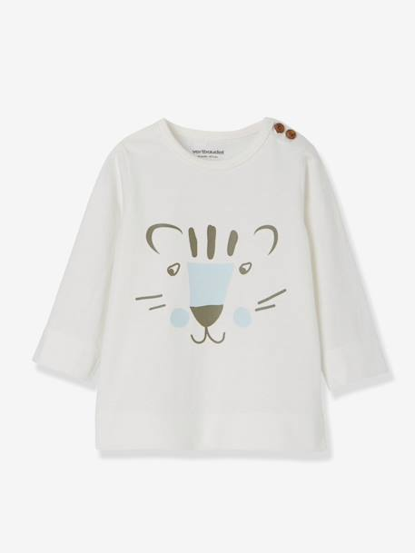 Pack of 2 Baby Boys' T-Shirts with Tiger Motifs WHITE LIGHT TWO COLOR/MULTICOL