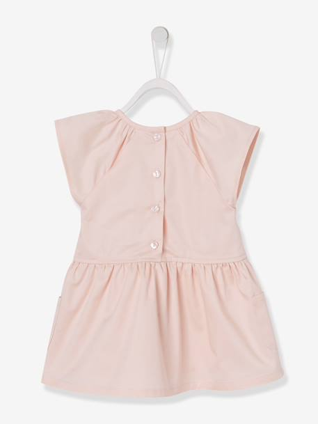 Baby Girls' Lined Sateen Dress PINK LIGHT SOLID WITH DESIGN