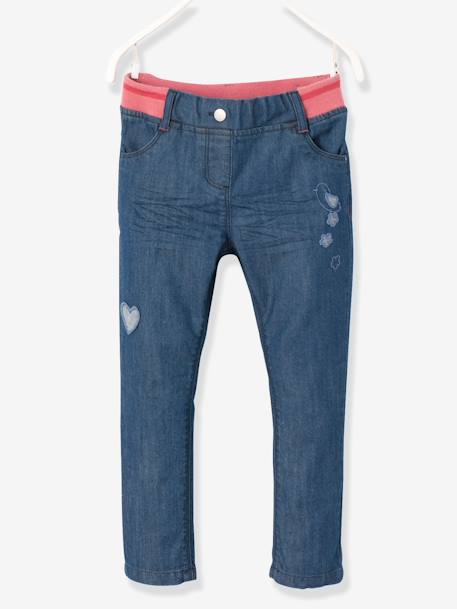 Girls' Denim Boyfriend-Fit Trousers BLUE DARK SOLID
