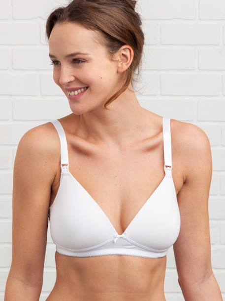 Padded Nursing Bra in Stretch Cotton Black+Grey marl+White