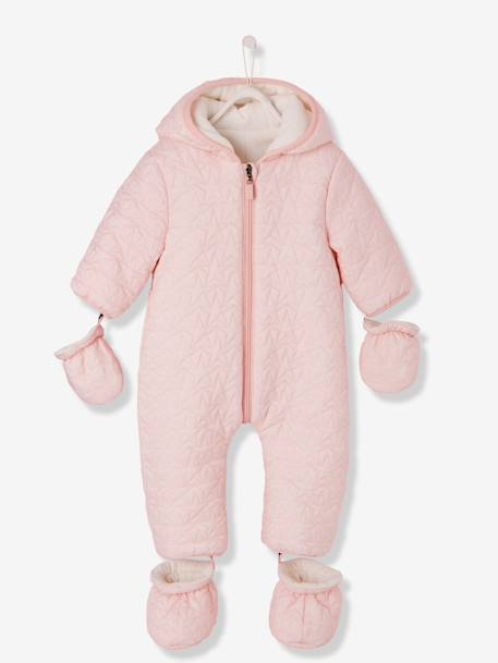 Baby Star-Padded Jumpsuit BLUE DARK SOLID+PINK LIGHT SOLID