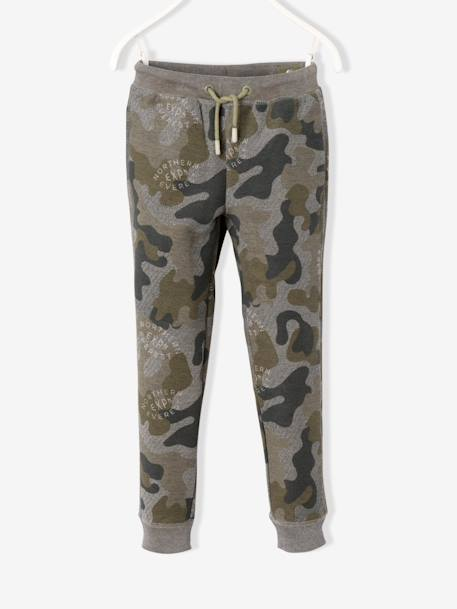 Boys' Camouflage Print Fleece Trousers GREEN DARK ALL OVER PRINTED