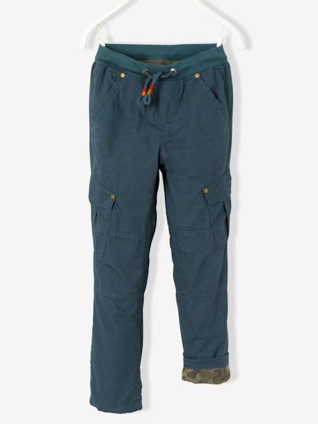 Boys' Combat-Style Trousers Lined with Jersey Knit Fabric BLUE DARK SOLID WITH DESIGN+BROWN MEDIUM SOLID WITH DESIGN+GREEN DARK SOLID WITH DESIGN