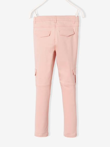 Girls' Slim Combat-Style Trousers PINK LIGHT SOLID