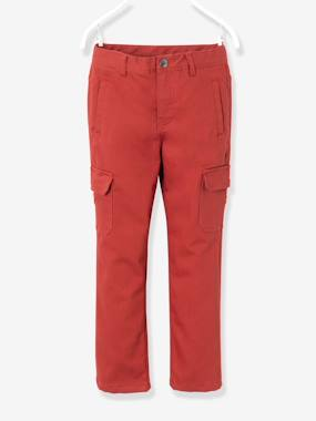 Boys' Indestructible Combat-Style Lined Trousers green dark solid