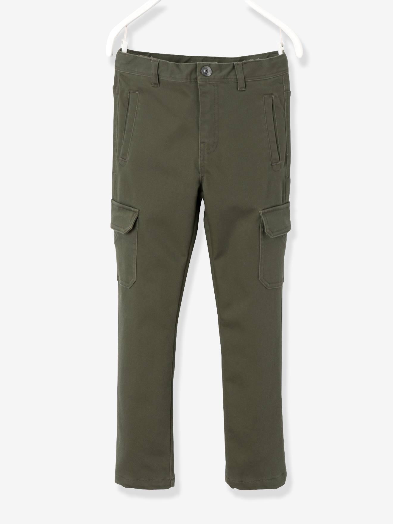Boys' Indestructible Combat-Style Lined Trousers GREEN DARK SOLID+RED  MEDIUM SOLID