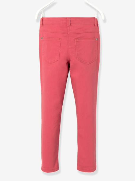 Girls' Indestructible Twill Slim Trousers BLACK DARK SOLID+PINK DARK SOLID