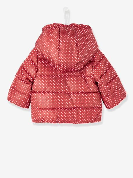 Baby Girls' Padded Jacket with Hood GREY DARK ALL OVER PRINTED+RED DARK ALL OVER PRINTED