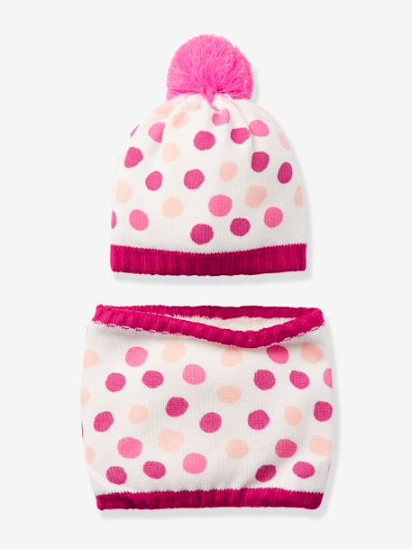 Girls' Ski Beanie & Snood Set PINK LIGHT ALL OVER PRINTED